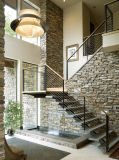 Modern Indoor House Used Stainless Steel Stair with Solid Wood Tread