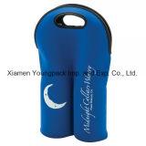 Fashion Promotional Custom Printed Royal Blue Neoprene Double Wine Bottle Holder