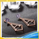 Wholesale High End Gold Plated Stainless Steel Crystal Letter Earring