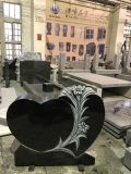 Antique Finish Flower Carving Black Granite Memorials Headstone