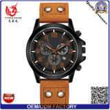 Yxl-549 Fashion Stainless Steel Case Double Buckle Leather Belt Men Wrist Quartz Sport Watch