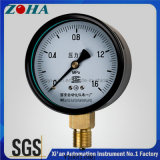 Accuracy 1.0% Black Steel Case Normal Pressure Gauge with Brass Connector