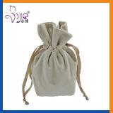 White Color Velvet Pouch Drawstring Bag Cute Size Makeup Bag