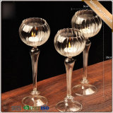 Home Decoration Crystal Long Stemmed Glass Candle Holder