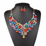 New Fashion Rhinestone Wedding Gold Color Necklace Earring Jewelry Set