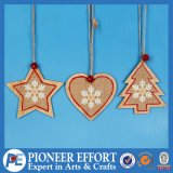 Wooden Star and Mini-Tree and Heart Design for Hanging Ornament