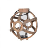 Large Round Wooden Lantern with Metal Handle and Glass Inside