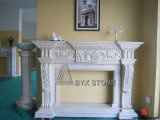 Galala Marble Flower Carved Fireplace for Indoor Decoration