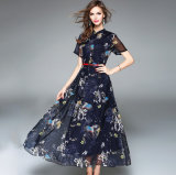 Summer Beach Long Printed Short Sleeves Chiffon Big Skirt Lady′s Dress