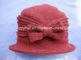 Winter Hat Fashion Knitted Wool Hat with Bow for Ladies