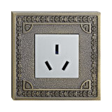 Wall Power Socket with Brass Plate
