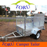 7X5FT Hot Dipped Galvanized Box Trailer with Cage