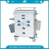 AG-At021 More Drawers Easy Moving Stainless Steel Instrument Trolley