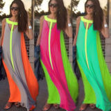 Wholesale Us Style Sleeveness Women Viscose Long Maxi Dress (A896)