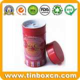 Custom Round Tea Tin with Airtight Inner Lid and Rivet, Tea Caddy, Metal Tin Box, Food Packaging Tin Can