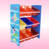 Toy Storage Shelf with Plastic Bins, Wooden Storage Shelf for Kids