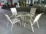 Outdoor Textilene Rattan Furniture with 5 PCS Patio Outdoor Folding Chairs Table and Backyard Bistro