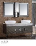 Stainless Steel Bathroom Cabinet with Double Basins on The Countertop