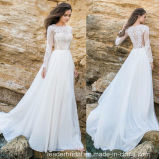 Lace Bridal Gown Long Sleeves Custom Chiffon Wedding Dress G2308