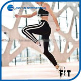 Hot Selling Women Simple Black Sports Leggings with Two White Stripes Side