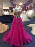 Purple Lace Evening Dress for Wedding with Separate Train