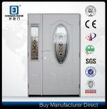 Decorative Tempered Glass Prehung Metal Glass Steel Door