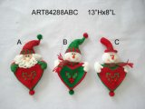 """13""""Hx8""""L Santa and Snowman Ornaments with Heart, 3 Asst-Christmas Decoration"""