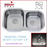 Double Bowl Kitchen Sink with Undermount Installation (7345AL)