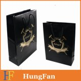 Black Paper Gift Bag with Hot Stamping Customized Logo
