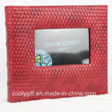 Book Bound Red Knit Pattern Leather Photo Album with Window