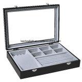 Black Leather Jewelry Box Display Tray Storage Packaging Organizer