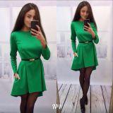 2016 Long Sleeve Pure Color Seam Detail Latest Design Women Fashion Tunic Dress
