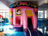 5*5m Pink Inflatable Castle with Snow White Patterns for Children to Play