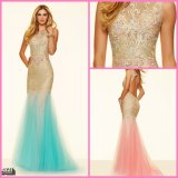 Green Pink Cocktail Dress Evening Gown Crystal Vestidos Prom Dress PA98017