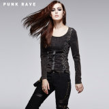 Long Sleeve Punk T-Shirt with Vintage Wash and Metal Ring Decorated (T-378/BK)