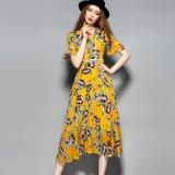 Boho Yellow Printed Women Long Dress with Button
