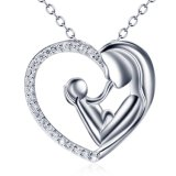 925 Sterling Silver Necklace Mother and Child Love Heart Pendant Necklace for Women Fine Jewelry