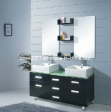 Hot! Double Double Sink Solid Oak Wood Bathroom Cabinet (N821)