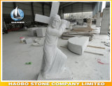 Stone Jesus Statue with Cross Hand Carved