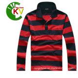 Leisure 100% Cotton Man Long Sleeve Striped T-Shirt (KVC04-01)