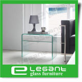 Curved Glass Night Table with High Gloss White Drawers