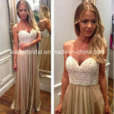Sweetheart Pearls Prom Gown Beading Celebrity Evening Dress W15928