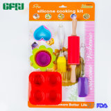 Kids Gift Silicone Kitchenware Baking Tools Set of Muffin Cup, Pudding Mold, Rolling Pin and Tools