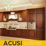Wholesale L Style Antique Cupboard Red Oak Wood Solid Wood Kitchen Cabinet Kitchen Furniture (ACS2-W04)