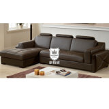 Brown Home Leather Sofas with Chaise for Apartment Living Room
