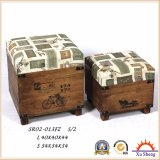 Wooden Fabic Print Storage Ottoman Stool Wooden Trunk