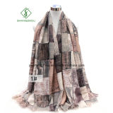 New Design Shawl with Plaid Printed Satin Fashion Lady Scarf Factory