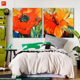 Lively Flowers Art Orange Hues Oil Painting