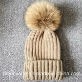 Online Handmade Real Raccoon Fur POM POM-Poms Knitted Hat