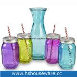 15.2 Oz. Colorful Glass Mason Jar & 1 Liter Carafe Beverage Set with Straws